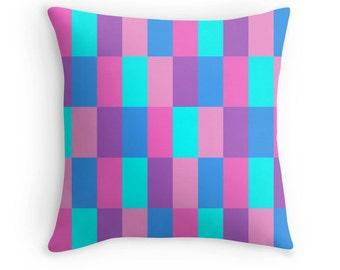 Blue Purple Pink Pillow, Multicolor Pillow, Purple Pink Pillow, Blue Purple Pillow, Blue Pink Purple Pillow, Rainbow Pillow, Pink Pillow