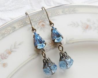 50% Off Price Sale, Swarovski Crystal, Czech Glass Bead, Antique Brass, Blue, Filigree