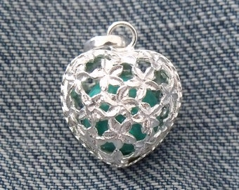 Mexican Bola Heart Shaped 925 Sterling Silver Harmony Chime Ball Angel Caller Valentine's Gift for Her