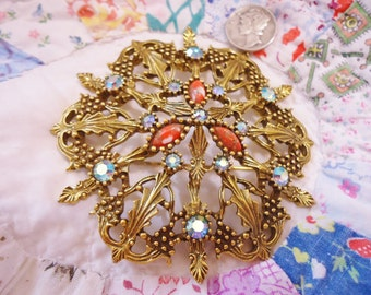Large Ornate Vintage Retro Brooch by Emmons