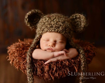 Brown Sugar Earflap Teddy Bear Hat