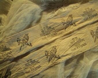 Paisley Bird - Hand Stamped Ribbon Trim  - Inspirational Trim (0173)