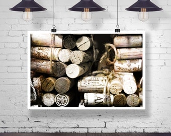 Photograph - Bundle of old vintage Wine Corks -  Fine Art Photography Print Wall Art Home Decor