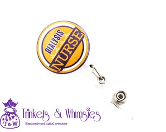 Dialysis Nurse Lakers Fan Colors without Beads Retractable Badge Holder