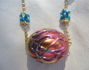24Inch Gorgeous Handmade Gold PInk Blue Lampwork Necklace Beaded Swarovski Crystal Beads and Gold Beads Connected with Thick Gold Fill Chain