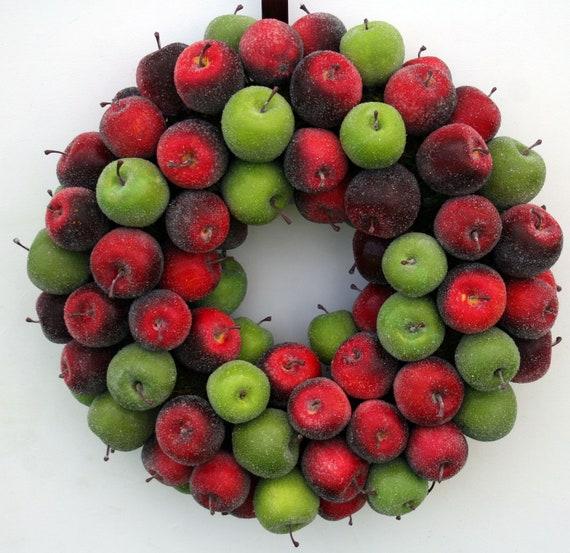 Apple Wreath, Fruit Wreath, Sugared Apple Wreath, Christmas Wreath, Holiday Wreath