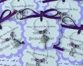 100-200 Custom Bridal Shower Wine Charm Favors - Wedding Shower