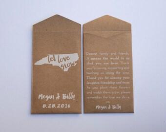 North Carolina Custom Seed Packet Wedding Favors - Many Colors Available