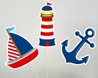 Nautical Centerpieces, Nautical Centerpiece Sticks, Lighthouse Sailboat Anchor Centerpieces, Nautical Baby Shower, Nautical Birthday