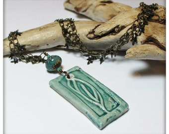 Laurel... Handmade Jewelry Necklace and Earrings Set Beaded Ceramic Pottery Crystal Chain Antique Brass Autumn Fall Leaf Leaves Aqua Teal
