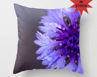 Purple Pillow Case, Accent Throw Cushion Cover For Sofa, Wildflower Photo, 16x16 18x18 20x20, Flower Picture Home Decor, Botanical Art Decor