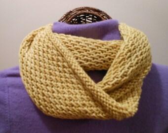 Hand-Knit Wheat Yellow Deep Cowl/Hood