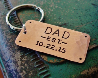 Dad Keychain, Dad Est Keychain, Hand Stamped, Established Date Year, Personalized, New Dad Gift, Dad Gift, Father's Day, Gift from Child