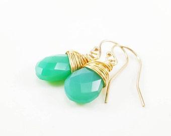 Chrysoprase Green Chalcedony Earrings - 14k Gold Filled Earrings - Drop Earrings - Dainty Gemstone Earrings - 14k Gold Filled - Gift for Her