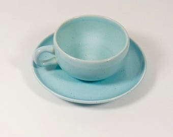 Russel Wright Glacier Blue Steubenville Tea Cup and Saucer Coffee Cup With Saucer American Modern Demitasse Teacup Midcentury Cup Coffee Tea