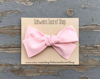 Oversized baby pink bow, hand tied bow, baby girl headband, toddler bow, baby girl bow, baby bow headband, baby hair bow, baby bows
