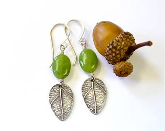Sterling leaf earrings with green Jade
