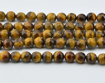 15.5 IN    Natural  Yellow   Tigereye  Faceted  Round  Beads
