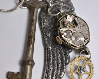 Steampunk Inspired Silver Plate Vintage Watch Movement Pendant 00141