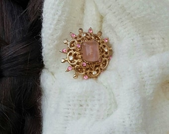 Vintage Pink & Clear Rhinestones with Center Stone Gold toned Coro Broach
