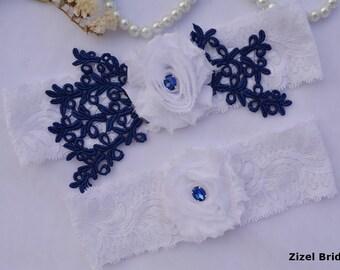 Navy Blue Garter, Wedding Garter Set, Flower Garter, Lace Wedding Garter, Bridal Garter, White Wedding Gift, Handmade Garter, Bridal Garter