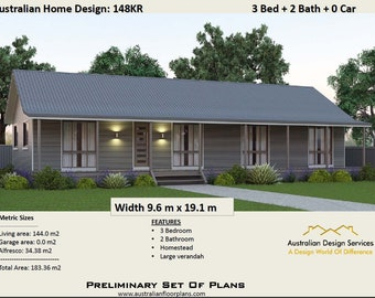 148m2 | 3 Bed | Acreage Home Plan 3 bed | Concept House Plans For Sale