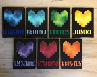 """""""Seven Human SOULs"""" - Painted Canvasrs Inspired by Undertale - Set of All Seven"""