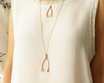 Rose gold wishbone necklace, Medium life size wishbone pendant in pink gold, large rose gold wishbone pendant necklace gift for her
