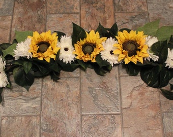 Floral swag for arbor or pergola. Sunflowers and cream daisy with greenery, 3 or 6 foot length
