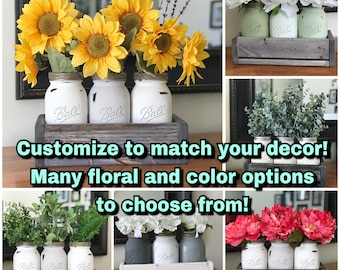 Mason Jar Centerpiece with crate, 3 painted jars and floral arrangements- customize for your home decor or wedding