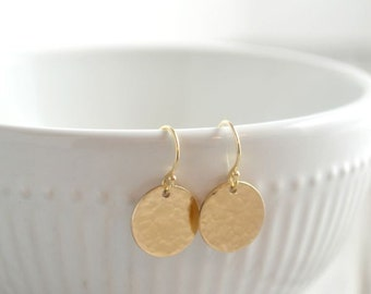 Yellow Gold Hammered or Shiny Disk Earrings