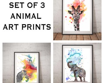 Safari Animal Painting Art Poster Set of 3 Animal Art Print Baby Nursery Art Decor Giraffe Zebra Elephant Painting Print Safari Animal Theme