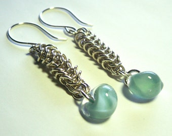 Sterling Silver Box Chain Chainmaille Earrings with Blue Boro Glass Teardrop