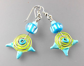 Swirly Girl Earrings - Handmade Lampwork Beads - Artisan - Jane Harter - Aqua - Sterling Silver - OOAK
