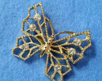 Vintage Rhinestone Butterfly Brooch - signed Gerry's butterfly pin, gold tone with clear rhinestones