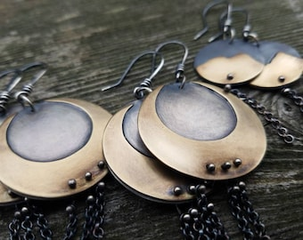 Crescent Moon Earrings Sterling Silver and Brass