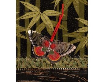 Bosquet du bambou papillon cloisonné Mini Textile asiatique Art Crazy Quilt