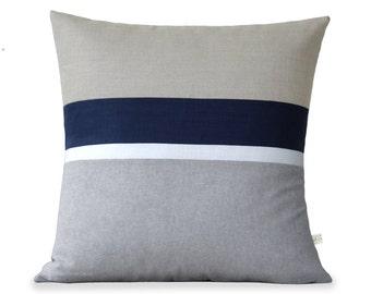 Linen Chambray Striped Pillow Cover (20x20) Grey, Cream, Navy and Natural - Modern Home Decor by JillianReneDecor