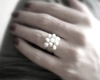 Crochet gold filled wire ring, crochet pearls ring,pearls ring, june birthstone ring, crochet ring