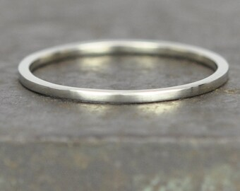 White Gold Wedding Band, Skinny Ring Square Edge, 1mm Solid Gold 14K Palladium White Gold, Sea Babe Jewelry