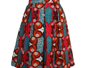 African print skirt, Teal and Orange Skirt, Ankara Skirt, Pleated Skirt, Summer Skirt, Short Skirt, African fashion, Colourful skirt