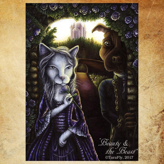 Beauty and the Beast, Cat and Dog, Fairy Tale 5x7 Fine Art Print