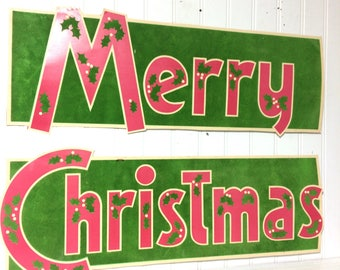 Vintage Flocked Merry Christmas Sign, Pink!