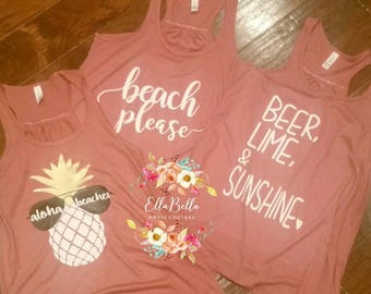 Custom Summer or Beach funny tshirts, tank top, friends vacation, pineapple, sunglasses, beer