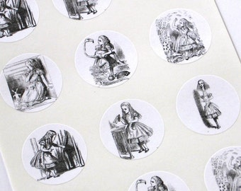 Alice of Wonderland Stickers One Inch Round Seals