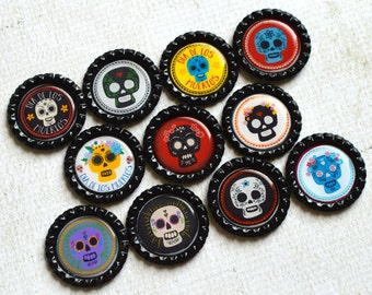 Day of the Dead Bottlecap Magnets- Dia de los Muertos Magnets- Colorful Sugar Skull Magnets- Day of the Dead Kitchen Magnets- Skull Decor