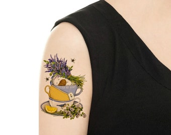 Temporary Tattoo -  Lavender Teacups and Saucers - Various Sizes / Tattoo Flash