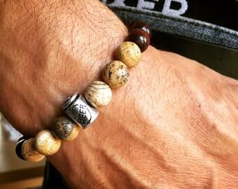 Yogi inspired brown wood bead and picture jasper mala meditation bracelet with beer yoga bead