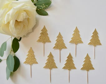 Gold Christmas Tree Cupcake Toppers