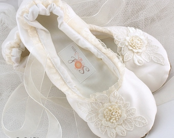 Ivory Satin Bridal Ballet Flats with Ruffles Lace Decorations and Ivory Sheer Ankle Ties